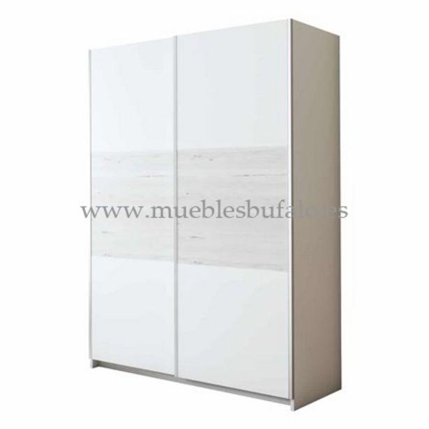 Oferta de Armario 2 puertas correderas Berlín, 180x220x62 cm Nieve-Artic Con cajonera por 409€