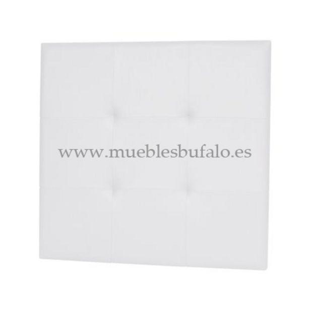 Oferta de Cabecero de cama capitoné tapizado polipiel, 110x110 cm Blanco por 71€