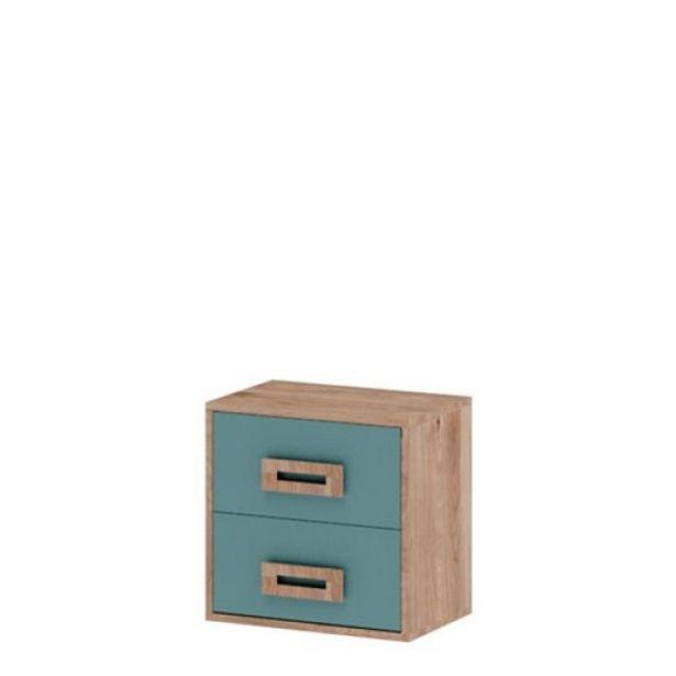 Oferta de Mesita de noche juvenil 2 cajones Start, 43x42x28cm Roble Aqua Blue por 48€