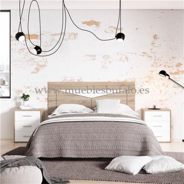 Oferta de Dormitorio de matrimonio New Plus 08 Cambrian-Nieve Cabecero y 2 mesitas Sin patas por 195€