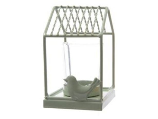Oferta de PORTAVELAS BIRD HOUSE VERDE 7X7X13 por 3,5€