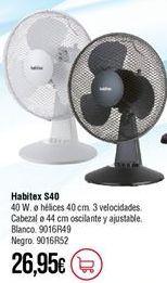 Oferta de Ventiladores Habitex por 26,95€