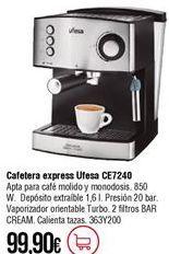 Oferta de Cafetera express Ufesa por 99,9€