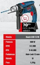 Oferta de Taladro Bosch por 70,21€
