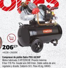 Oferta de Compresor de aire Ratio por 206,57€