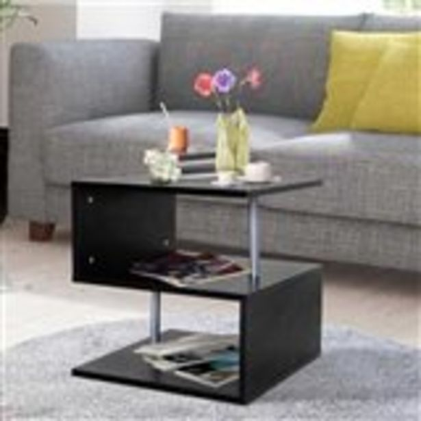 Oferta de Mesita auxiliar Homcom forma S con 2 niveles negro 50x50x50 cm por 40,99€
