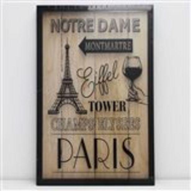 Oferta de Cuadro París madera 58x38x3 cm por 9,95€