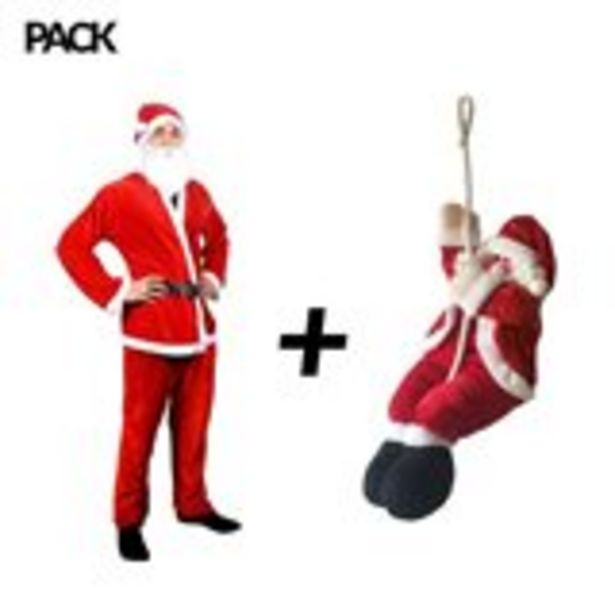 Oferta de Pack Papá Noel traje + muñeco escalando por 5,99€