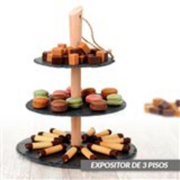 Oferta de Expositor alimentario Etagere Excellente Houseware 3 pisos gris/natural por 9,95€