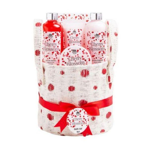 Oferta de Cesta de baño tela lunares cherry blossom 5 piezas por 15,99€