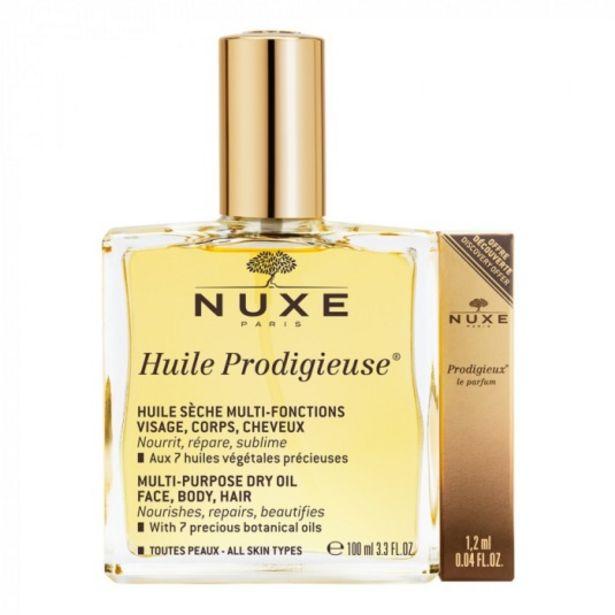 Oferta de Nuxe huile prodigieuse 100 ml + prodigieux le parfum 1,2 ml... por 29,9€
