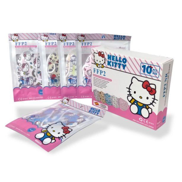 Oferta de Mascarilla ffp2 nr infantil hello kitty caja 10 unidades por 9,99€