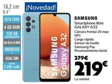 Oferta de SAMSUNG Smartphone libre GALAXY A32 por 219€