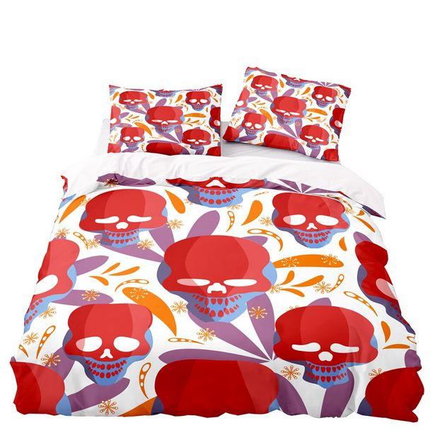 Oferta de Juego de ropa de cama con estampado de calavera roja para Halloween por 23,64€