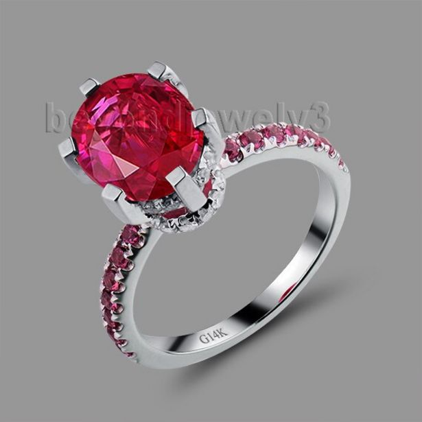 Oferta de Anillo ovalado de rubí rojo para mujer por 666,66€