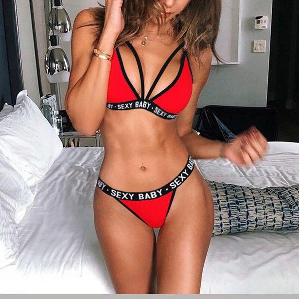 Oferta de Nuevo letras de Sexy tres punto traje de Deportes de las mujeres ropa interior Sexy sin espalda ropa interior Bikini por 1,51€