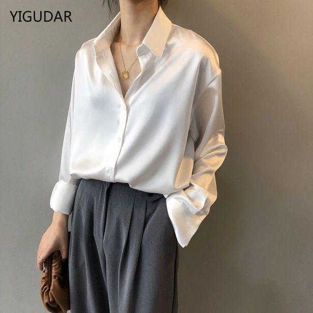 Oferta de Camisa de seda Vintage para mujer por 11,19€