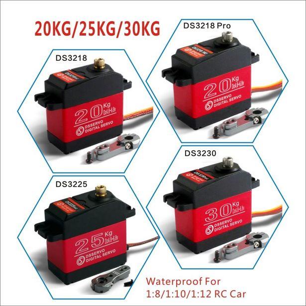 Oferta de 1 X servo resistente al agua 20KG 25KG 30 KG y de alta velocidad servo digital de engranaje de metal baja servo 1/8 Escala de 1/10 coches RC por 11,56€