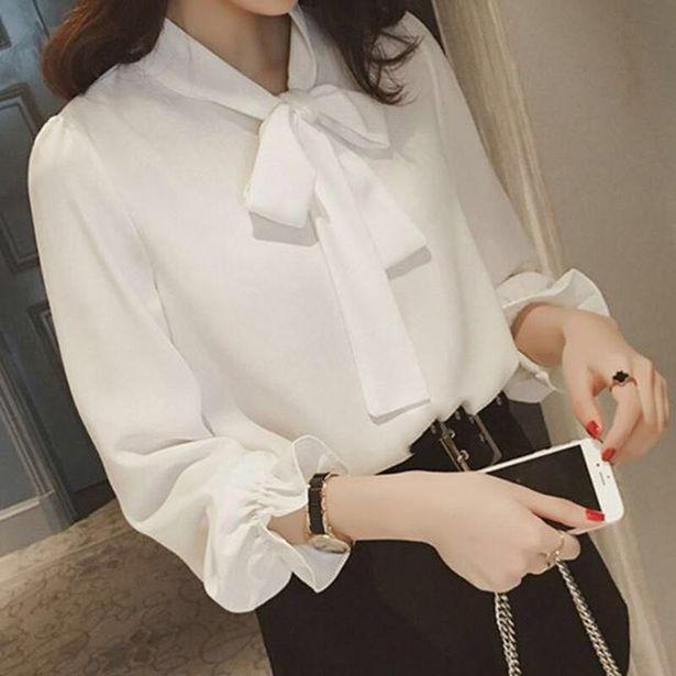 Oferta de Camisa blanca de gasa con lazo para mujer por 3,18€