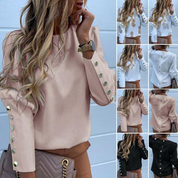 Oferta de Camisas de manga larga con botones de Metal para mujer por 3,96€