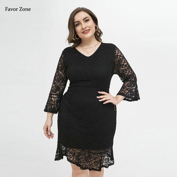 Oferta de Elegante vestido Midi de encaje con mangas para mujer por 17,25€