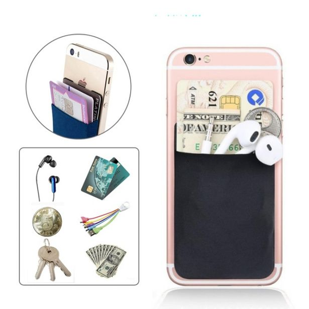 Oferta de 2019 Lycra elástica de moda adhesivo para teléfono móvil ID titular de la tarjeta de crédito pegatina de mujer bolsillo cartera funda tarjetero # C por 0,01€