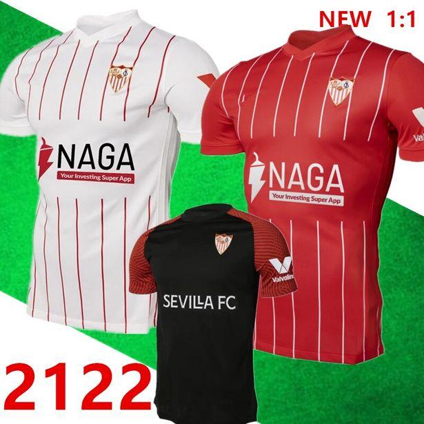 Oferta de 21 22 FC Sevilla fútbol Jersey 2021 2022 BANEGA EN-NESYRI DE NAVAS DE JONG EL había camisa DE pelota hombres niños camiset jugador versión por 4,83€