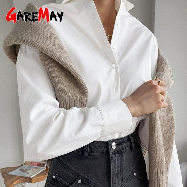 Oferta de Camisa blanca de gran tamaño para mujer por 15,02€