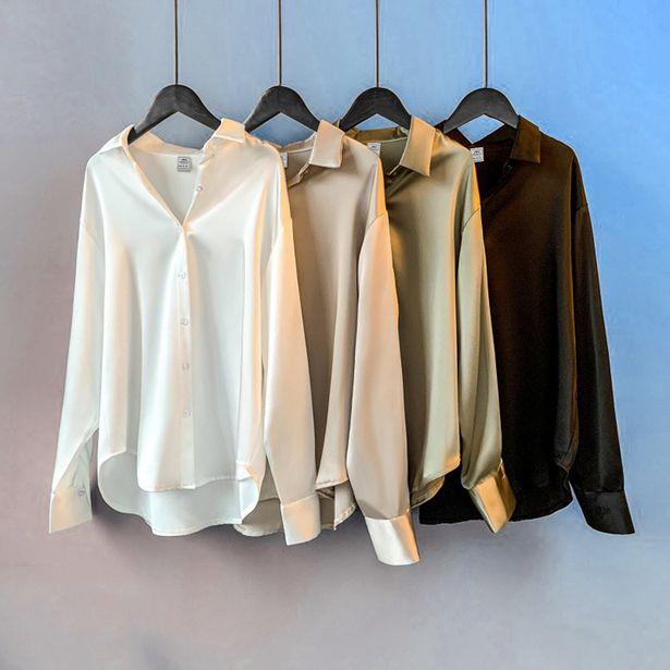 Oferta de Camisa de satén de manga larga para mujer por 9,52€