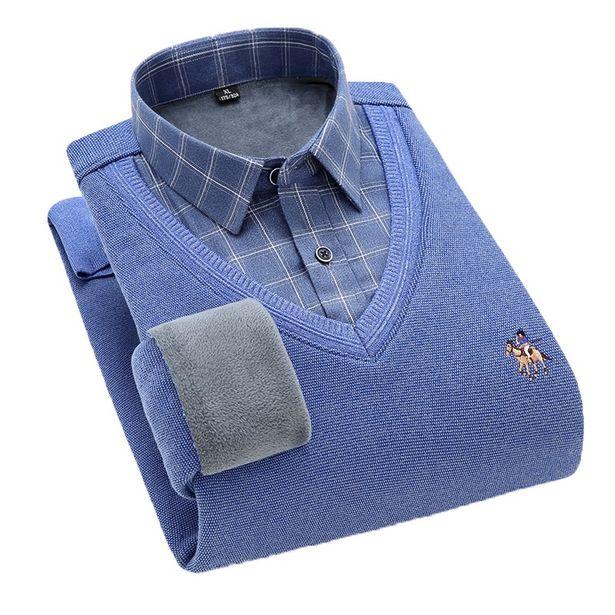 Oferta de Camisas de hombre camisas para hombre Aoliwen-suéter con cuello en V para hombre por 24,66€