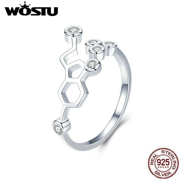 Oferta de WOSTU-Anillo de plata de primera ley con forma de panal para mujer por 5,17€