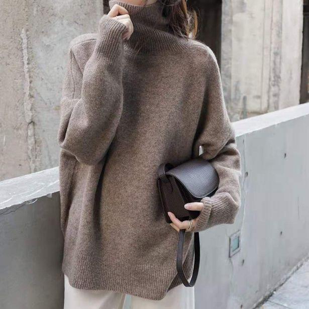 Oferta de Cuello de tortuga jersey de cachemir para invierno ropa de mujer estilo coreano Y2k suelto cálido de punto de jersey prendas de vestir Mujer sudaderas suéteres por 17,7€