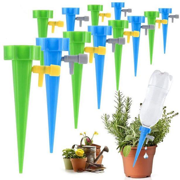 Oferta de 1/6/12 Uds Auto riego por goteo sistema de riego goteo Spike Kits de jardín hogar planta flor bebedero automático de herramientas por 0,01€