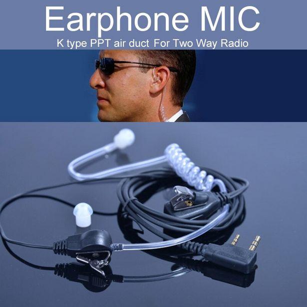 Oferta de Auricular micrófono para $TERM impacto Baofeng UV-5r BF-888s UV-82 GT-3 Radio Walkie Talkie micrófono aire tubo acústico 2 Pin PPT Accesorios por 6€