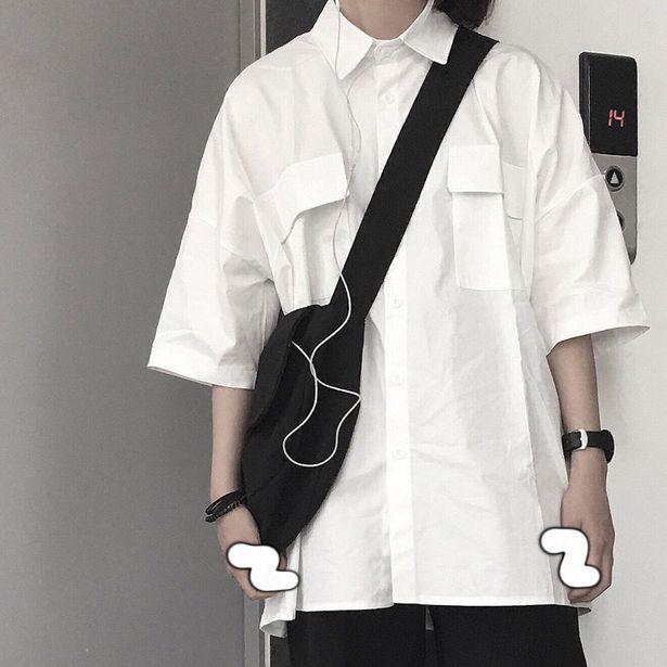 Oferta de EBAIHUI 2021 camisa de manga corta de las mujeres blanco cuello básico Casual adolescente Niña estudiante camisa Oversize blusa. por 7,54€