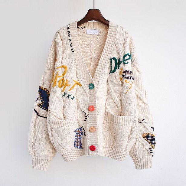 Oferta de Bordado Chaqueta de punto suéter de moda cuello en V manga larga Jersey tipo Rebeca suelto de invierno de 2021 casuales de las mujeres suéter caliente por 27,98€
