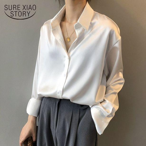 Oferta de Camisa de seda satinada con botones para mujer por 10,72€