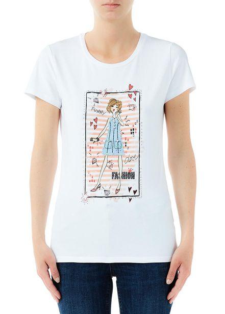 Oferta de Camiseta con estampado y aplicaciones por 28,5€
