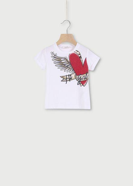 Oferta de Camiseta con estampado y strass por 33€