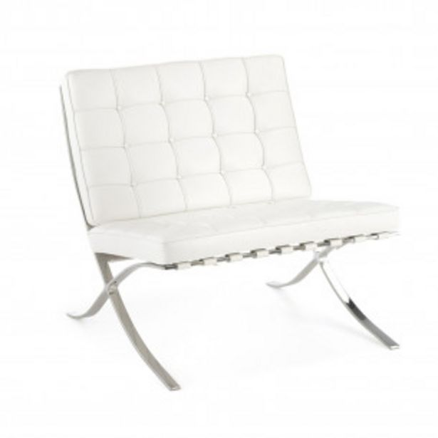 Oferta de Sillon de espera de diseño Barna ecopiel blanco por 399€