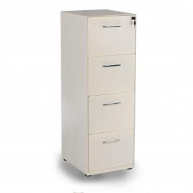 Oferta de Archivador de oficina 4 cajones Dado, reforzado, tamaño A4 estructura blanca por 299€
