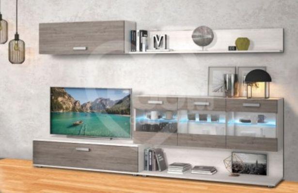 Oferta de Composición COMPLETA 250 cm mueble salón con luces LED OFE DIA J1 por 209€