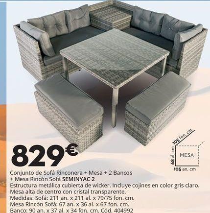 Oferta de Conjunto rinconera, mesa, 2 bancos y auxiliar SEMINYAC 2 por 829€