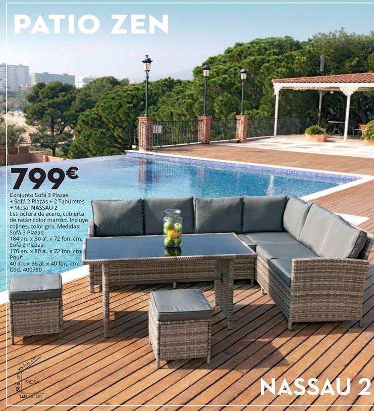 Oferta de Conjunto sofá, 2 puffs y mesa de jardín NASSAU 2 por 799€