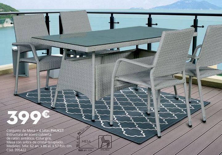 Oferta de Conjunto mesa y 4 sillas de jardín PHUKET por 399€