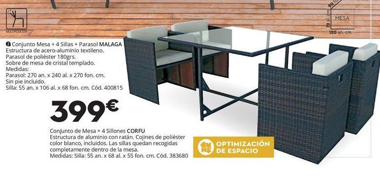 Oferta de Conjunto de MESA + 4 sillon CORFU por 399€