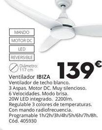 Oferta de VENTILADOR DE TECHO IBIZA por 139€