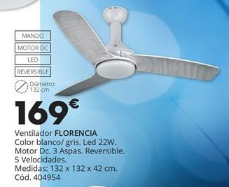 Oferta de VENTILADOR DE TECHO FLORENCIA por 169€