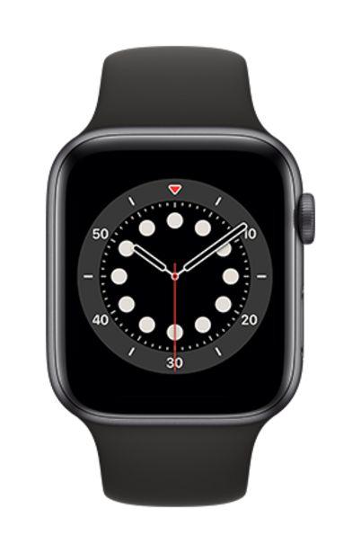 Oferta de Apple Watch Series 6 44mm Caja gris / Correa deportiva negra por 509€
