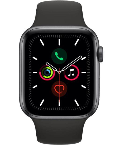 Oferta de Apple Watch Series 5 44mm Caja gris espacial / Correa negra por 499€